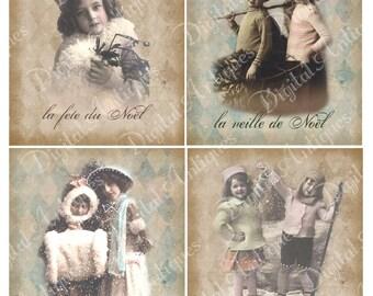 Vintage Christmas A La Francaise Printable  Digital Download