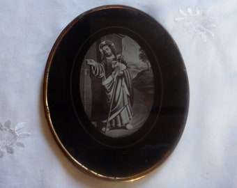 Vintage, Jesus, Vintage French, Religious, Jesus Wall Hanging, Brass Picture, Our Father, Vintage Christ, Vintage Religious, Religious Gift