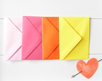 Envelopes set, Envelopes in cheerful colors,  5 self-adhesive envelopes, Mix & Match