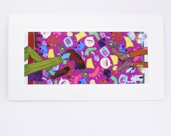 """WILLY WONKA charlie and the chocolate factory """"a chocolate inheritance"""" faerie tale feet limited edition signed art print roald dahl art"""