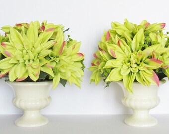 Dahlia Flower Arrangement, Artificial Flower Arrangement, Set of 2 Floral Arrangements, Silk Flowers, Green Dahlias, Artificial Centerpiece