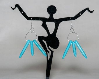 Earrings turquoise stick beads