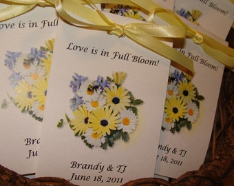 Daisy Duo Design with Wildflower Seeds inside perfect for Bridal Shower or Wedding SALE CIJ Christmas in July
