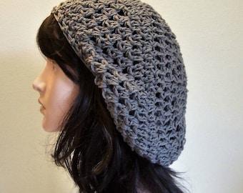 Storm Gray Cotton Beanie, Slouchy Beanie, Snood Crochet, Slouchy Hat, Dreads Tam, Boho Hippie, Women's Hat, Ladies Tam, Gift
