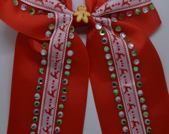 Anne's Christmas Gingerbread Men - Large Hair Bow Clip