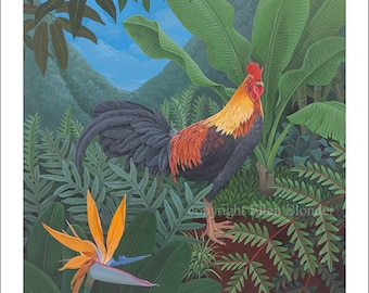 Kauai Rooster with Bird of Paradise, Large Giclee Print