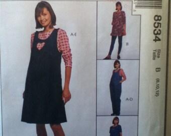 """McCalls Maturnity Dress, Jumper, Jump Suit Pattern 8534   Size: 8-12, Bust 31""""-34"""", Waist 25""""-28"""", Hip 34""""-38"""""""
