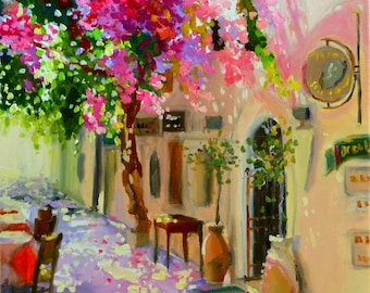 ART print, GRIEKELAND, pink and purple, Greek side street, oil on canvas, art, GREECE