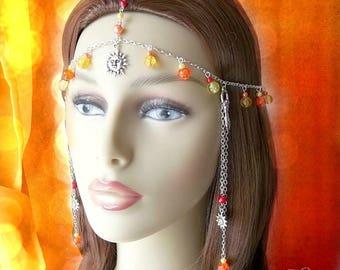 Sun Goddess Headdress, Festival Head Chain, Silver Circlet, Goddess Headpiece, Boho Head Chain, Bohemian, Gaia, Summer,Priestess,Pagan,Fairy