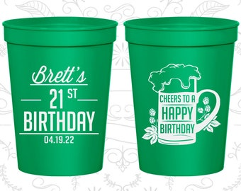 21st Birthday Cups, Birthday Cups, Cheers to a Happy Birthday (20005)