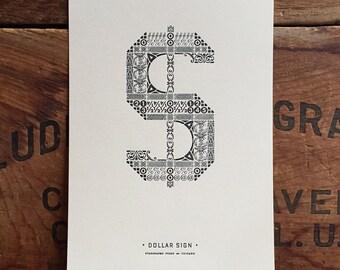 Ornamental Dollar Sign letterpress PRINT