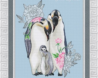 "Cross Stitch Pattern ""Family of penguins"" DMC Cross Stitch Chart Needlepoint Pattern Embroidery Chart Printable PDF Instant Download"