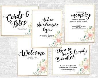 Set of 5 customizable wedding reception digital prints, wedding bundle printables, personalized watercolor floral signs