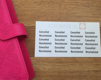 Cancelled and Rescheduled Planner Stickers