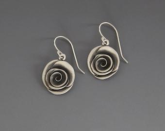 Sterling SilverRose Earrings -handmade-