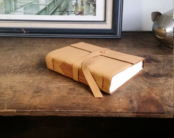 Hand-sewn Leather Journal, Ochre Yellow 4.75 x 6 Journal by The Orange Windmill on Etsy 1814