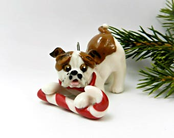Bulldog Red White Christmas Ornament Figurine Candy Cane Porcelain