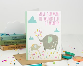 Elephant And Baby Mother's Day Card - Card For Mum - Mum Birthday Card - Mom card - Happy Mother's Day Card - Cute card for mum - Love mum
