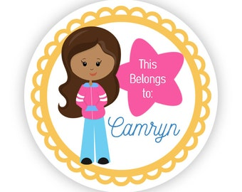 Personalized Name Label Stickers - Yellow Orange, Pink Gymnast, Gym Labels, Girl Gymnastic Name Tag Stickers - Back to School Name Labels