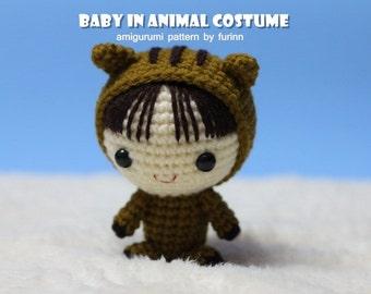 INSTANT DOWNLOAD Amigurumi Pattern Baby in Boar Costume/ Chinese Zodiac Boar