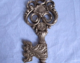 Vintage Paris Apartment Gilt Look Oversized Key Fleur de Lis Scrolls