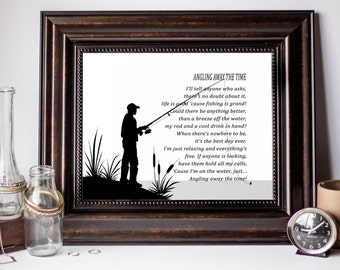 Minimalist Man Cave Decor, Man Cave Wall Decoration, Minimalist Poetry Print, Husband Fishing Gift, Dad Fishing Gift, Father Wall Art Gift