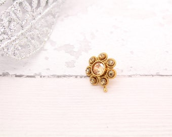 Antique Gold Small Indian Nath Nose Piece Nose Clasp Indian Bollywood Inspired