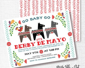 Cinco de Mayo Kentucky Derby Party Invitation, Printable, Fiesta Party Invite, Mexican, Horse Birthday, Modern, Folk Art, Go Baby Go