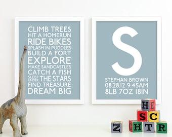 Baby Boy Nursery Art Print Playroom Rules Subway Art Quotes Baby Boys Room Decor Nursery Monogram Birth Baby Announcement Baby Name