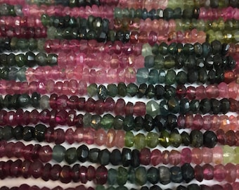 4MM rainbow tourmaline roundelle faceted beads
