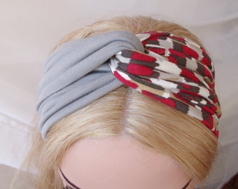 Boho Headband Turban Twist Headband Gray Geometric Print Headband Wide Head Wrap Fitness Headband Cute Headband Jersey Turban Hair Band