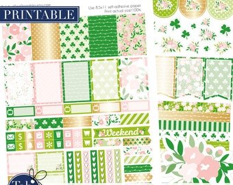 Spring green two pack printable planner stickers for MAMBI Happy Planner. Gold shabby chic floral kit with clover.