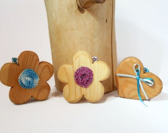 Flowers, butterflies, wooden heart to hang, hanging decoration-gift idea