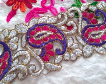 Royal Metallic Base Cutwork Paisley Style Blue Red Fabric Ribbon Trim India Sewing Sari Border Lace FT128  2 Yard