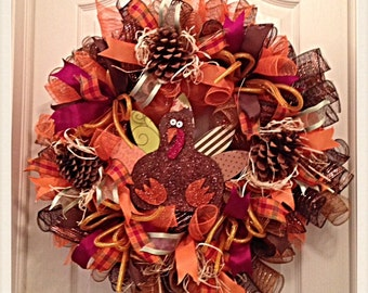 Thanksgiving Turkey Deco Mesh Wreath/Turkey Deco Mesh Wreath/Turkey Wreath/Fall Wreath/Thanksgiving Wreath