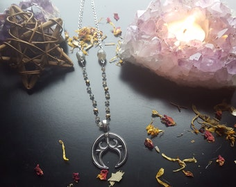 Little Luna. Lunula Necklace. Pagan Witch Goth Goddess