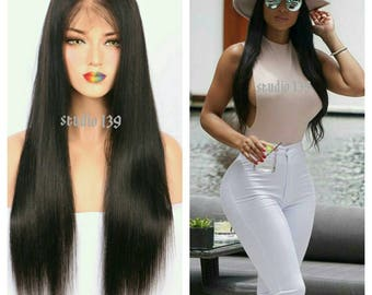 Custom made 24inch beautiful black straight lace front wig