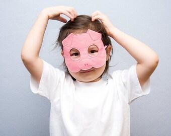 Pig Mask, Kids Piglet Mask, Farm Animal, Felt Dress up Mask