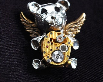 Angel Teddy Bear Pin - Steampunk Vintage Repurposed Watch Movement Brooch and Lapel Pin - Fantasy Animal - Winged Mythical Guardian Of Time