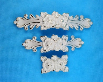 "3.75"" 5"" Shabby Chic Dresser Drawer Pulls Handles Creamy White Gold / French Country Kitchen Cabinet Handle Pull Antique Furniture Hardware"