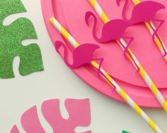 Flamingo straws ~ yellow paper straws