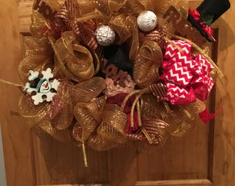 Gold and Red Deco Poly Mesh Christmas Wreath, Primative wreath,Merry Christmas Wreath, Christmas Wreaths, Deco Mesh Wreaths