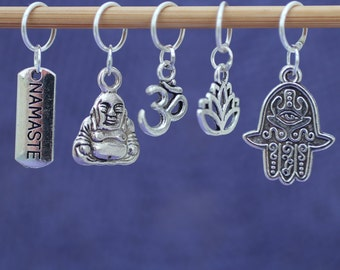 Meditation Stitch Marker Set, Knitting Stitch Markers, Crochet Stitch Markers, Gift for Knitters, Knitting Tools, Crochet Tools, Buddhist