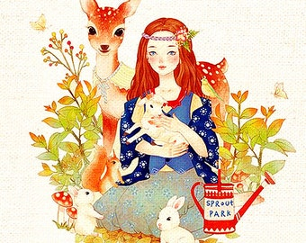 """Deer Fabric,Hand Printed Fabric,Children Fabric Deer with Girl ,One Panel 8""""x 8"""" (20cm X 20cm) h74a"""