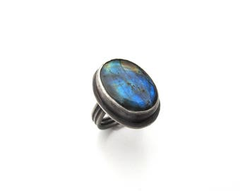 Sterling Silver and Labradorite Ring - Size 8 OOAK