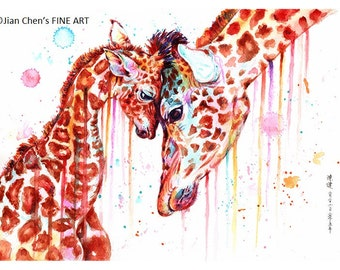 giraffe mother's love: framed prints (size 12x17cms or 17x22cms)