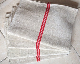 Matching Red and White Stripe Linen Grainsack Natural Sandstone Vintage Fabric Striped Sewing Projects Upholstery Bathroom Mat