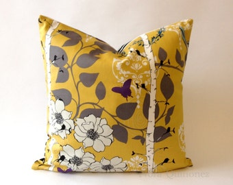 20x20 Liz Floral Print Decorative Pillow Cover - Black and White Striped Backing -Medium Weight Cotton- Invisible Zipper Closure