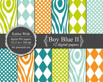 Boy Blue II Digital Scrapbook Paper Kit jpg files Instant Download for invites, scrapbooking, webdesign