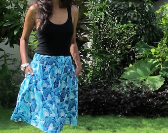 Floral Print in Blue Tones Skirt / Knee Length Skirt in Green and Yellow / Pockets / Summer Fashion